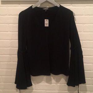 Express bell sleeve v neck blouse